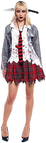 Partilandia Disfraz Zombie Colegiala para Mujer Uniforme Gris (M ...