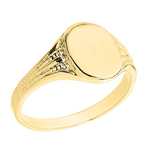 Men's Polished 10k Yellow Gold Textured Band Engravable Oval Face Signet Ring (Size 9)
