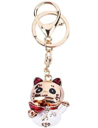 Lucky Cat Crystal Rhinestone Alloy Metal Key Chain Animal Kitten Lover Kawaii Keyring Pendant Purse Handbag