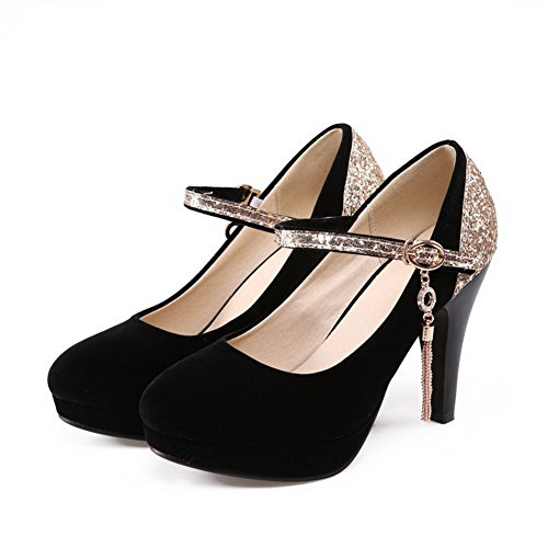 High Heels Buckle Shoes WeenFashion Black Round Pumps Women's Materials Closed Blend Toe pwtqH