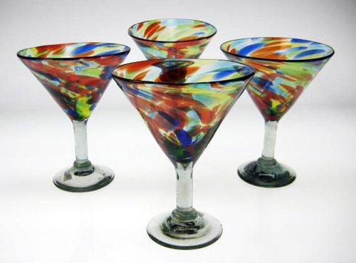 Mexican Glass Margarita / Martini Confetti Swirl, 15 oz, set of 4 by Mexican Margarita Glasses