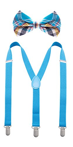 Man of Men - Bowtie & Suspender Set - Checkered Bow Ties and Solid Color Suspenders (Baby Blue Plaid) -