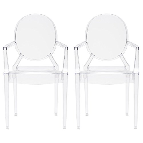 Poly and Bark Em-103-Clr-X2 Dining Chair (Set of 2), NA, Clear Clear Living Room Chair