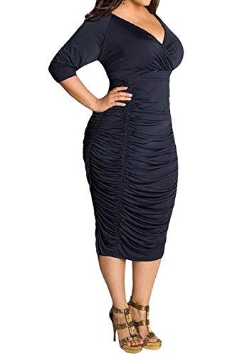 Poseshe Womens Plus Size Deep V Neck Wrap Ruched Waisted