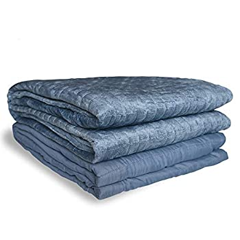 Image of Ray-Sky Adult Weighted Blanket, Cooling Heavy Blanket with Removable Cover for Adults 140-180 lbs, Premium Cotton with Glass Beads(15 lbs, 48'x72',Twin Size), Blue Ray-Sky Home B07RQ7KLST Weighted Blankets