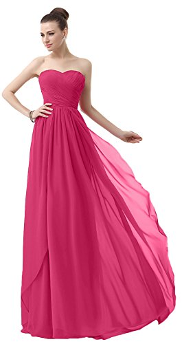 VaniaDress Sweetheart Chiffon Long Bridesmaid Dress Prom Gonws V003LF Fuchsia US2