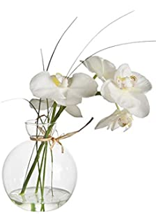 Sia white hydrangea artificial flower amazon kitchen home sia home fashion sia phalaenopsis orchid in water bowl white 38cm mightylinksfo