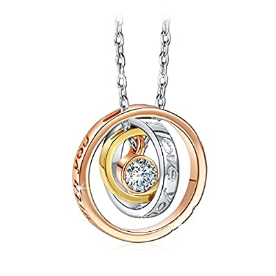 """Qianse """"I Love You Mom"""" Engraved Trinity Ring Pendant Necklace with Swarovski Crystal"""