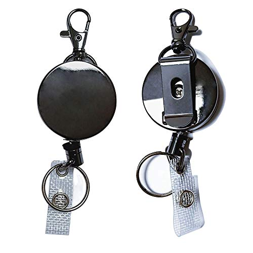 2 Pack Heavy Duty All Metal Retractable ID Badge Reel Holder Carabiner Reel Clip Key Ring with 24 inch Retracting Metal Cord