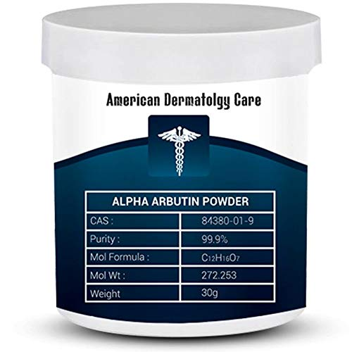 Pure Alpha Arbutin Powder 30 grams 1.05 oz 99.9 Purity – Skin Lightening Pharma Grade GMO Free Use in Serums Creams Cosmetic Formulation