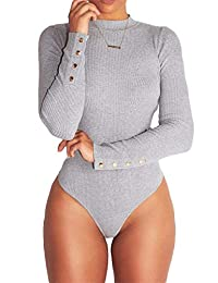 Imagine Women's Club High Neck Top Long Sleeve Bodycon Solid Bodysuit Sexy Romper Jumpsuit Thong Leotard