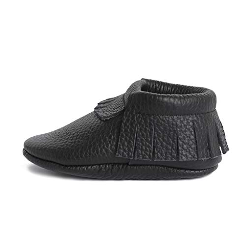 Little bee mocs ( Italian Leather Baby Moccasins Soft Sole Baby Shoes Newborns, Infants & Toddlers - Handmade Genuine Leather Baby Moccasins Fringes Boys & Girls Black