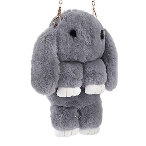 Kids Bunny Hare Backpack Rabbit Faux Fur Shoulder Bags Plush Doll Crossbody Handbag Knapsack Wallet Purse Cellphone Coin Key Card Satchel Toy Travel Pouch Beauty Fashion Dress Up Gift for Girls