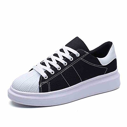 Men's Shoes Feifei Spring and Autumn Fashion Thick Bottom Wear-Resistant Casual Shoes 4 Colors (Color : Black, Size : EU42/UK8.5/CN43)