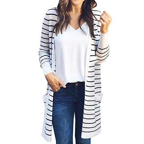 NUWFOR Women's Black White Shawl Collar Striped Open Front Cardigan Sweaters Coat Outwear(White,M)
