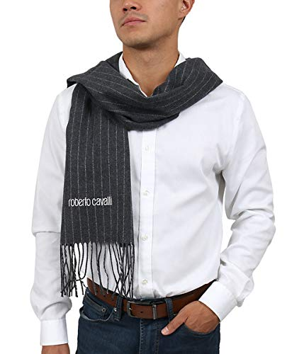 Roberto Cavalli ESZ066 05001 Grey 100% Wool Brushed Pinstripe Mens Scarf for Mens