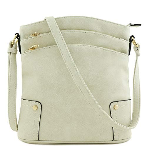 Triple Zip Pocket Large Crossbody Bag (Bone)