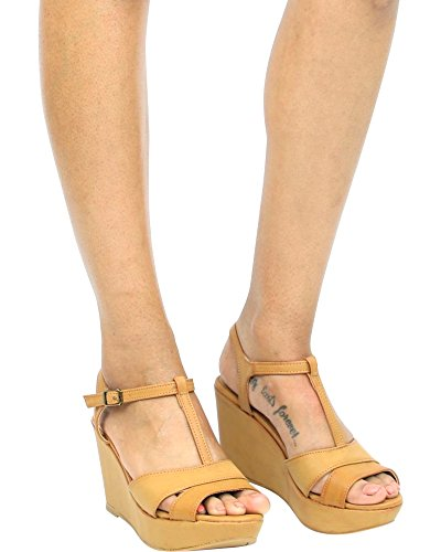 Bamboe Womens One Band / Criss-cross Band Wedge Platform Sandalen / Sleehak Sandalen Natural_20s