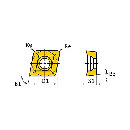 Rhombic 80/° Round Honing Mitsubishi Materials CCMX09T308ENA F7030 Carbide Milling Insert 0.031 Corner Radius 0.375 Inscribed Circle Coated Class M Grade F7030 0.156 Thick Pack of 10