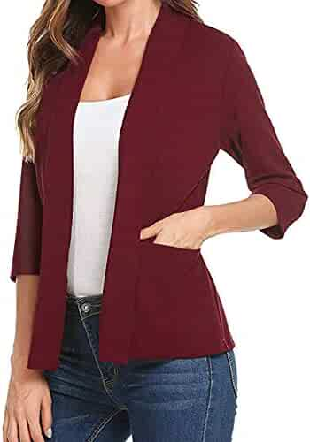 GOVOW 3 4 Sleeve Blazer for Women Open Front Short Cardigan Suit Jacket  Work Office 4e018db94