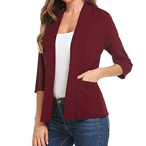 GOVOW 3/4 Sleeve Blazer for Women Clearance Sale Open Front Short Cardigan Suit Jacket Work Office Coat(US:14/CN:XXL,ZZ-Red)