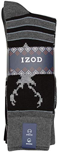 'Izod Mens' Fashion Dress Socks with Moisture Wicking Technology (7 Pack),Black/Gray,Shoe Size: 6-12.5'