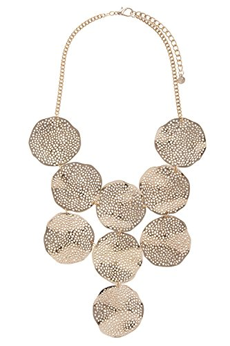 [TRENDY FASHION JEWELRY WAVY CUTOUT DISK BIB NECKLACE SET BY FASHION DESTINATION | (Gold)] (Wavy Guy Costume)