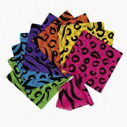 Fun Express Neon Animal Print Bandannas (Animal Print Bandanas)