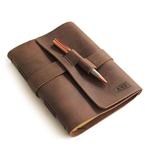 Monogrammed Leather Journal Diary with Rose Gold Pen by case Elegance