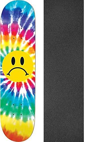 おばさん技術的なリンスEnjoi Skateboards Frowny Face 絞り染め スケートボードデッキ 樹脂 7-8.37インチ x 31.7インチ モブグリップ穴あきグリップテープ付き - 2つのアイテムのバンドル