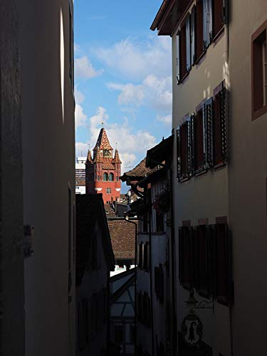 - Home Comforts Framed Art for Your Wall Basel Streets Road Town Hall Tower Tower Eng City Vivid Imagery 10 x 13 Frame