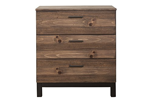 Origins by Alpine 3500-04 Weston, 3 Drawer, Rustic Pine Small Mahogany 3 Drawer Chest