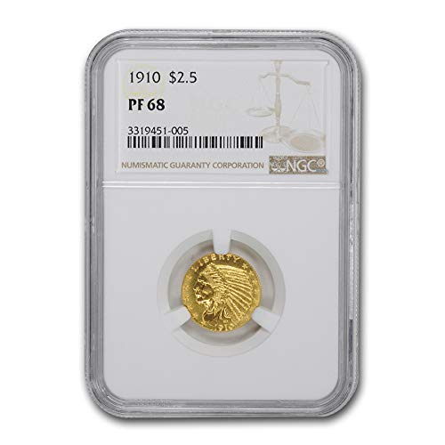 (1910 $2.50 Indian Gold Quarter Eagle PF-68 NGC $2.50 PF-68 NGC)