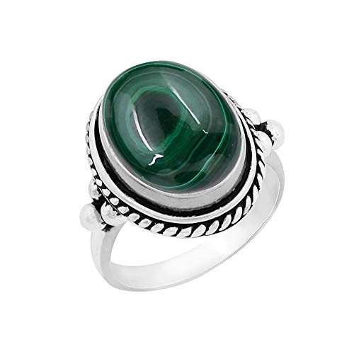 Genuine Large Oval Shape Malachite Solitaire Ring 925 Silver Plated Vintage Style Handmade for Women Girls (Size-9)