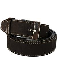 Men Tan Suede Belt Leather - Brown & Blue Belts | Classic & Fashionable | 1.3'' width by XeeBest