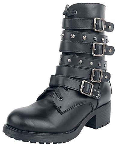 Black Premium by EMP Dark High Strap Boot Boots Schwarz Schwarz