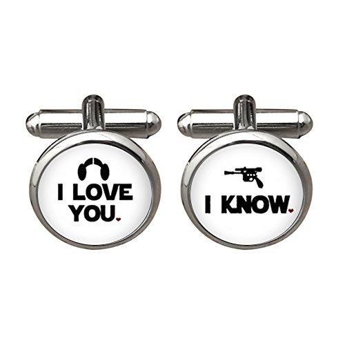 ZUNON I Love You Cufflinks I Know Wedding Anniversary Groom Mens Jewelry Wedding Cufflinks (White)