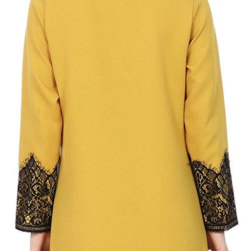 Manches Musulman Femmes Maxi Manteau Bluestercool Longues Kimono Outwear Kaftan Jaune WEUHInqPc