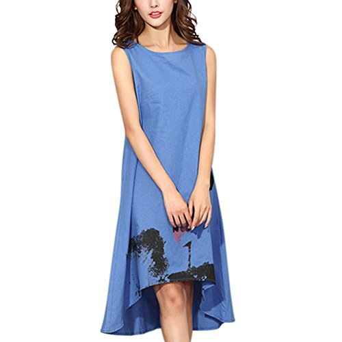 YESIDO Women Vintage Chinese-Style Cotton Linen Sleevessless A-Line Long Dress Hand Painted Flower Blue XL -