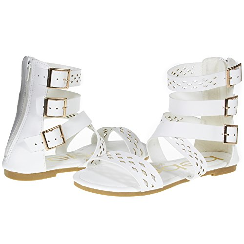 bebe Girls Big Kid Triple Ankle High Wide Strap Laser Cut Perforated Flat Gladiator Sandals with Back Zipper Size 4 White ()