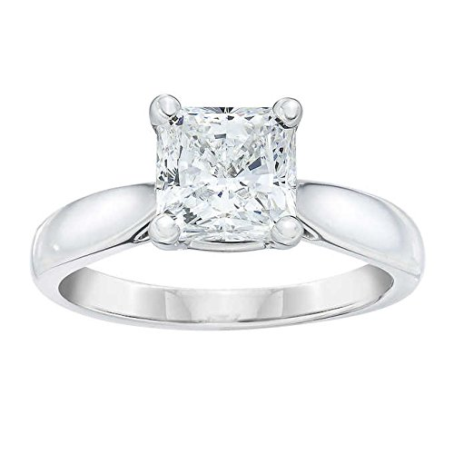 RC Fine Jewelry Asher Cut 14K White Diamond Solitaire Ring (White-Gold)