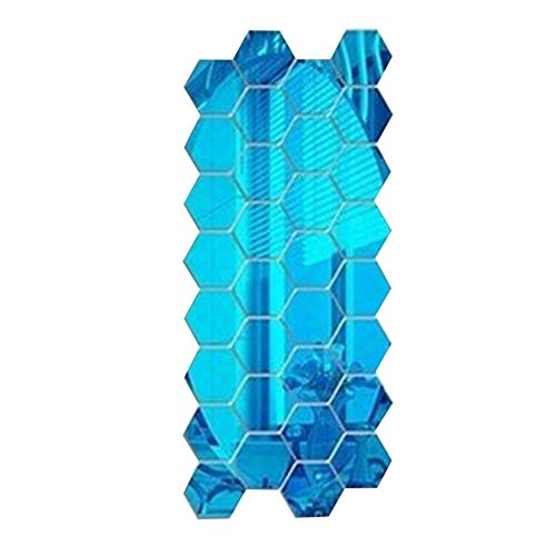 Piece 10 Weatherstrip (AOGHO Seal Strip Rubber Weatherstrip, Hexagonal Stereo Mirror Wall Sticker Self-Adhesive Decorative Mirror Sticker, Suitable for Restaurant Aisle(60pcs),Blue,4.642.3cm)
