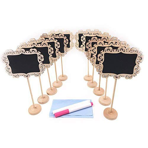 E-Conoro Mini Chalkboards with Stand, Erasable Chalk Markers and Cleaning Cloth for Message Board Signs, Wedding Party Table Numbers, Place Cards, Food Name Card, Decorative Sign (Pack of 10 )