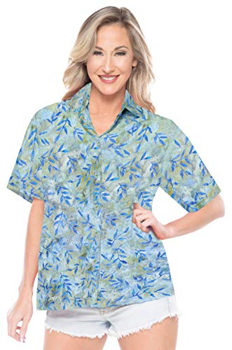 LA LEELA Relaxed Casual wear Beach Hawaii Shirt Blue_AA143 L - US 38-40D