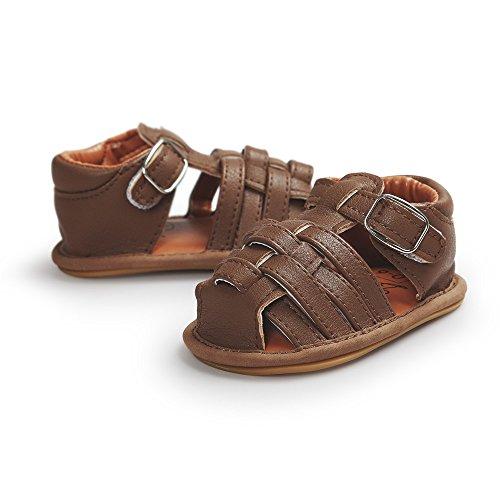 Estamico,Bebé chicos antideslizante de goma Sole PU sandalias de cuero,Caqui 0-6 meses Marron oscuro