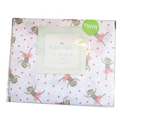 (Dancing Kitty Cat Ballerina Girls Sheet Set Bedding with Flat Sheet, Fitted Sheet, Pillowcase (Twin))