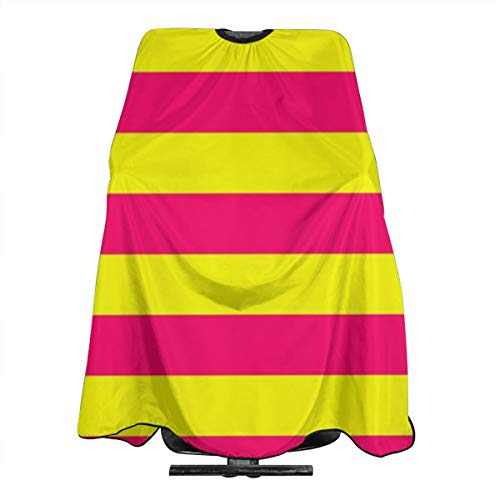 Bright neon pink and yellow horizontal cabana tent stripes Haircut Hairdressing Cape Cloth Apron Hair Styling Hairdresser Cape Barber Salon