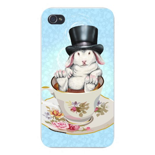 Apple iPhone Custom Case 4 4S White Plastic Snap On - Rabbit Hole Funny Bunny in Teacup w/ Top Hat
