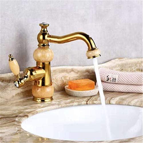 洗面蛇口 ヨーロッパの自然なヒスイの石英スタイルアンティーク銅キッチンシンクは、単一のハンドルスプレー手のブラシ銅シンク蛇口浴室のコンテナのシンクの蛇口蛇口 キッチン蛇口 (Color : Rose gold, Size : Black jade)