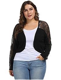 Hanna Nikole Women's Plus Size Long Sleeve Solid Floral Lace Shrug Bolero Cardigan Top